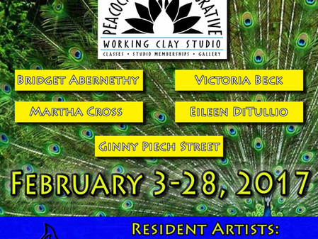 Flametree Clay Art Gallery welcomes the talented artists from Peacock Clay Collaborative for Februar