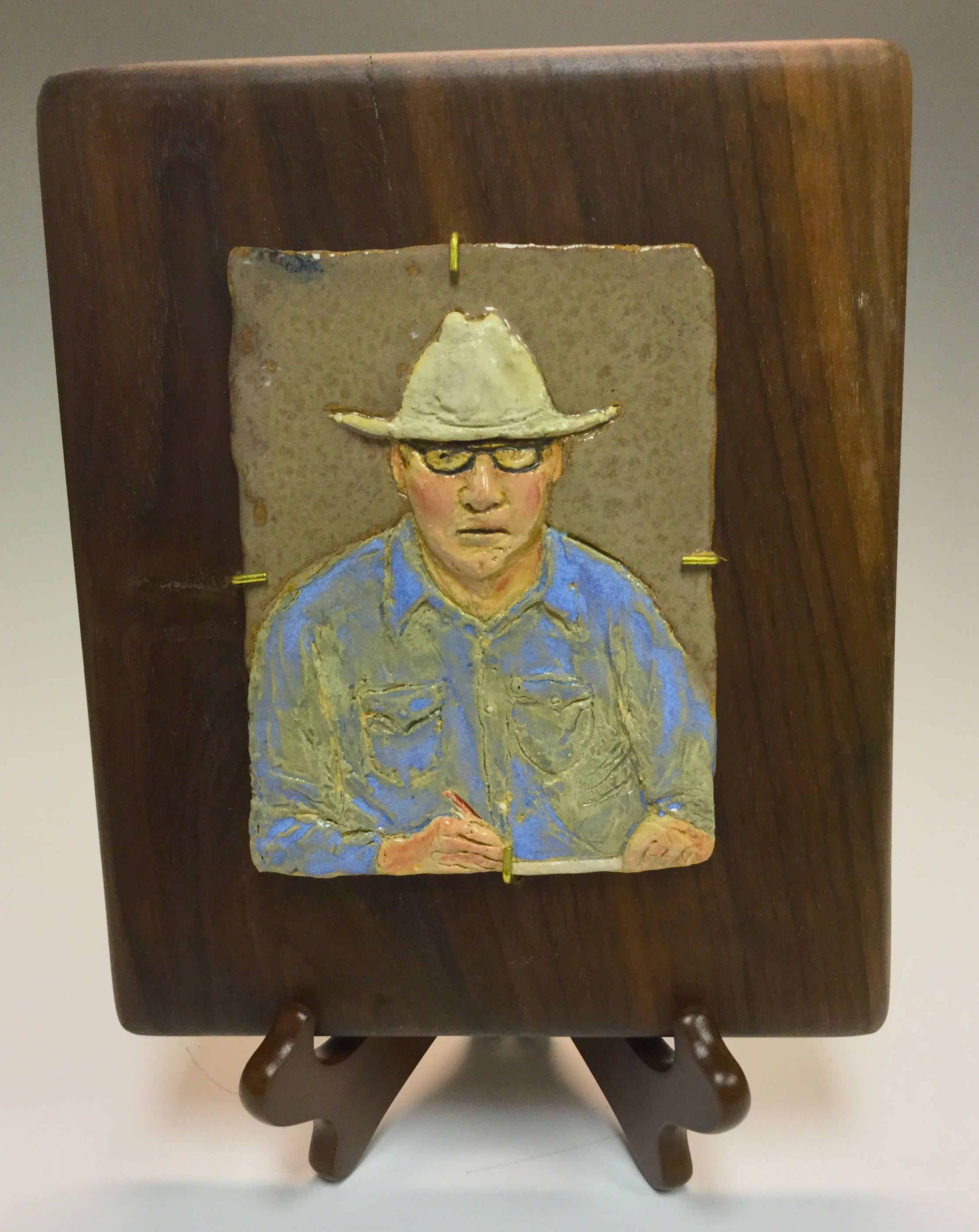 Self Portraint - Mounted on Walnut