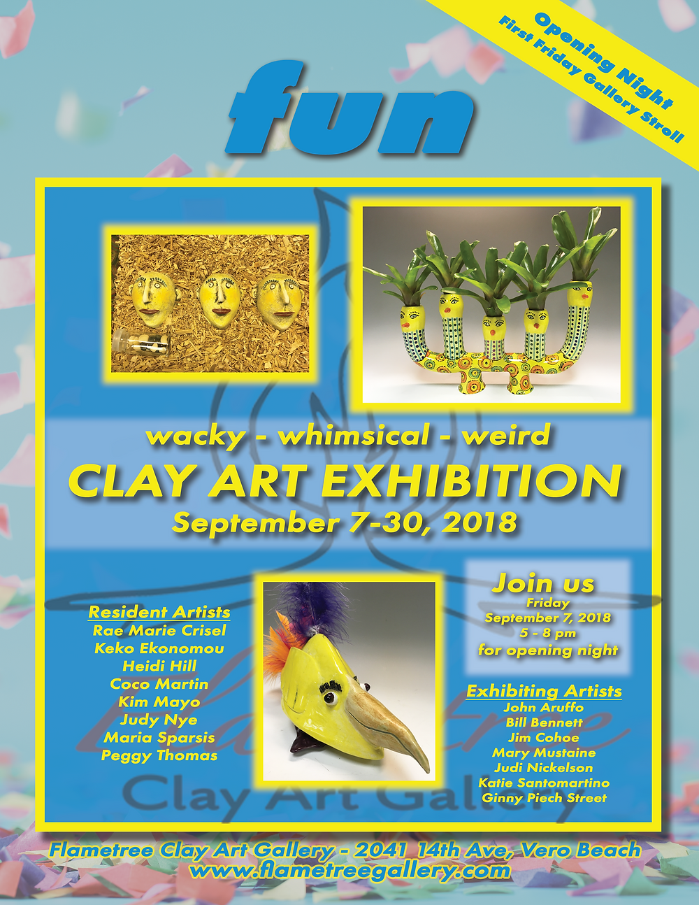 Flametree Clay Art Gallery - September 2018 Exhibition - fun