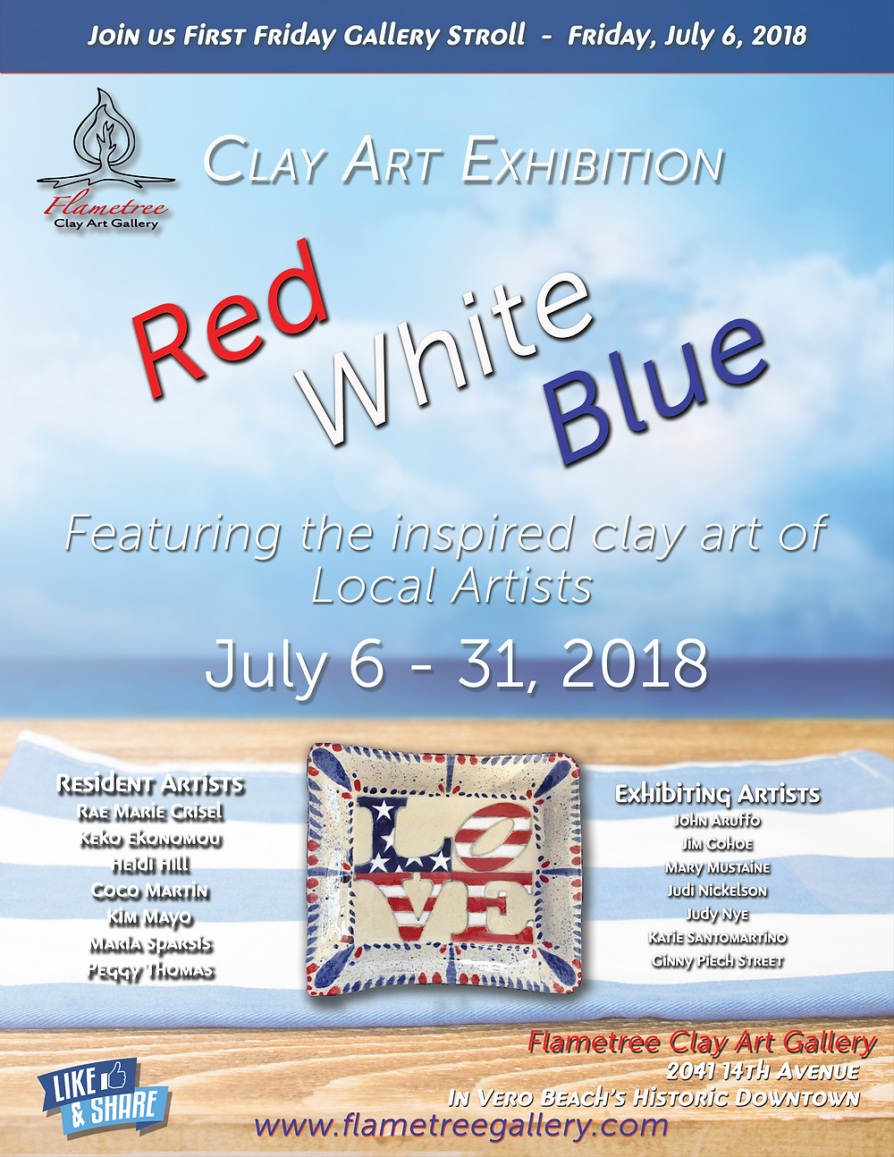 July 2018 - Clay Art Exhibition - Red White Blue