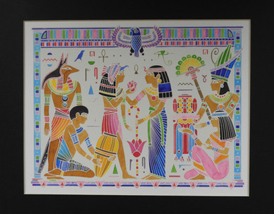 Egyptian watercolor set of 3