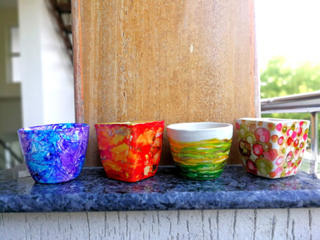Painting ceramic planters with alcohol inks
