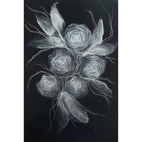 Silver on black - roses