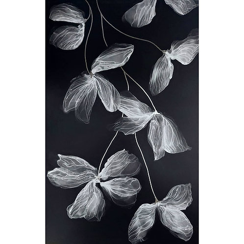 Silver on black - hanging flowers