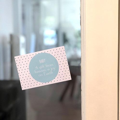 Geboortekaartje op herpositioneerbare sticker 50 stuks