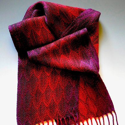 """Feathers"" Scarf in Reds and Purples"