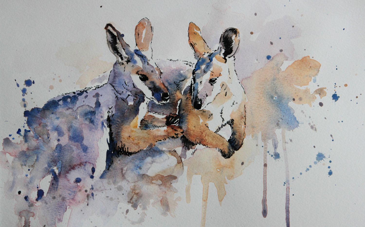 """Best Buddies"" watercolour and ink"
