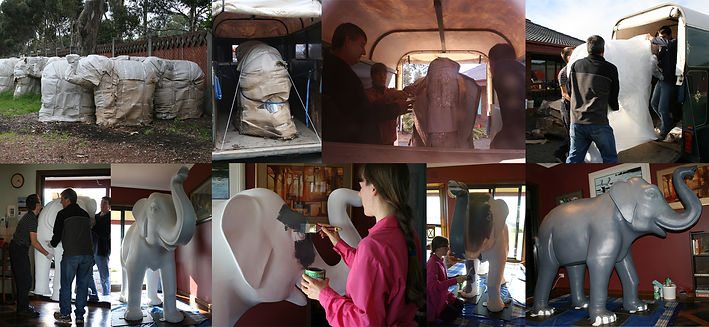 Elephant sculpture being transported to studio and painted