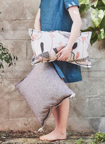 RAISON cushion with soft wool tassels & HINTERLAND Earth cushion