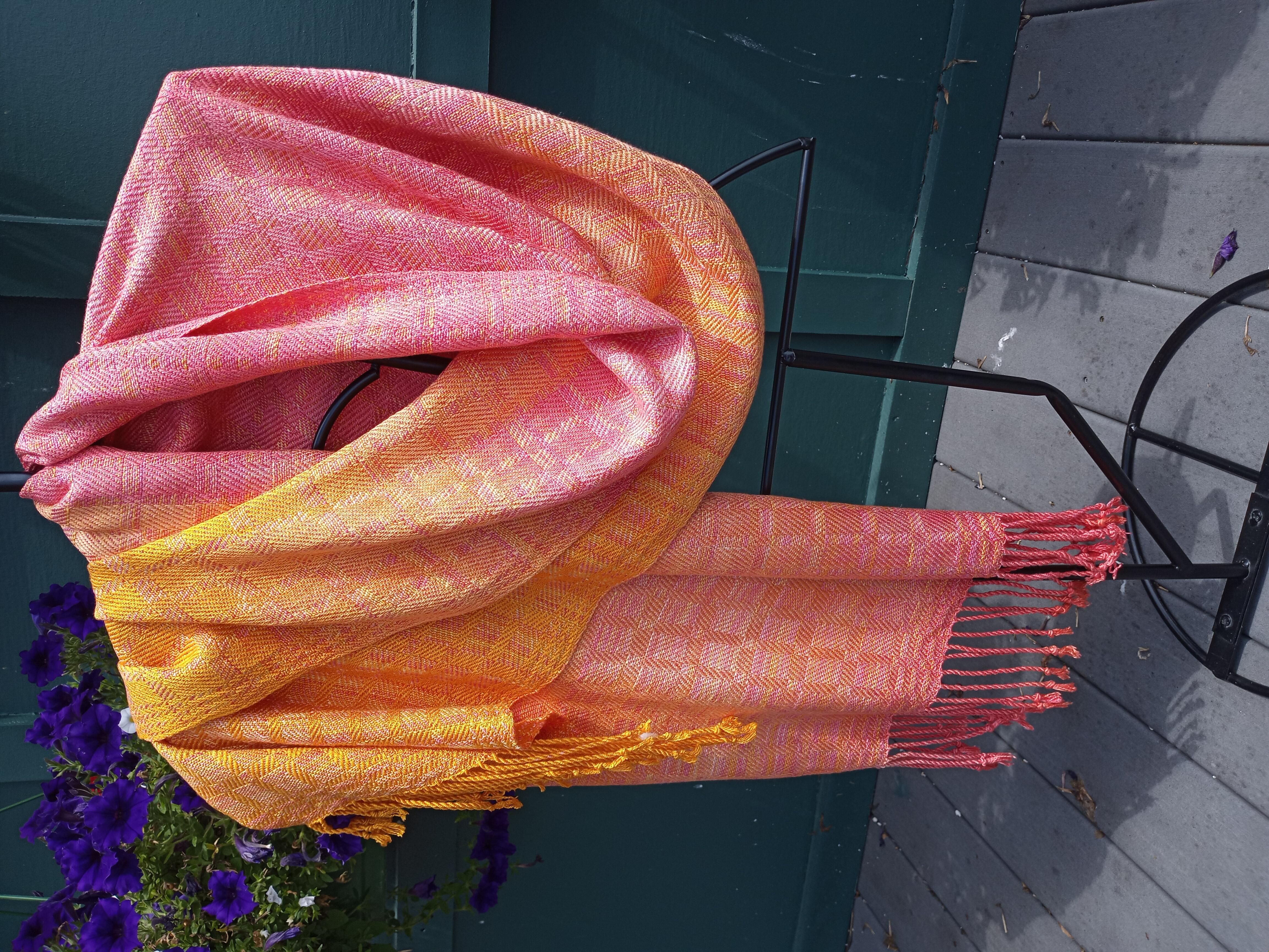 Hand-dyed silk shawl