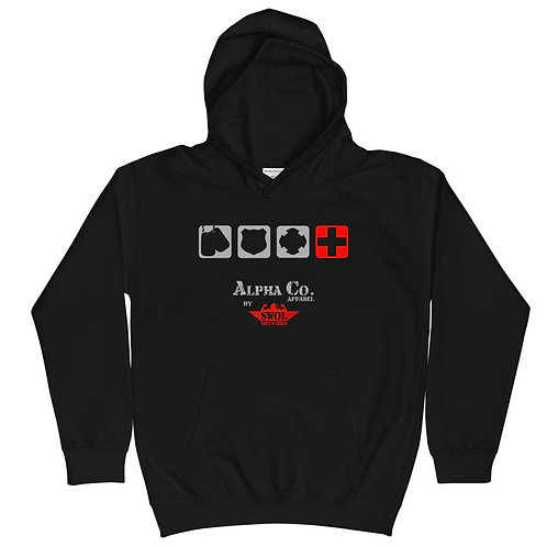 Kids Hoodie  | Badges of Honor (Paramedic, Black & Red)
