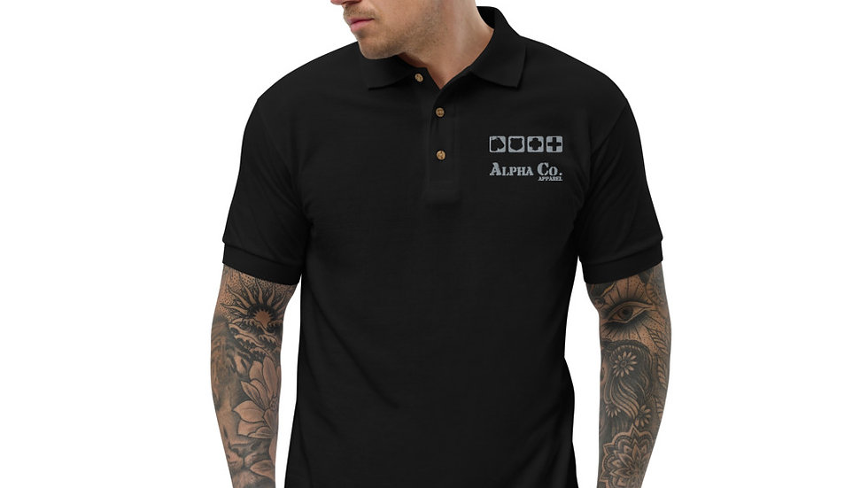 Embroidered Polo Shirt   Badges of Honor (Subdued)