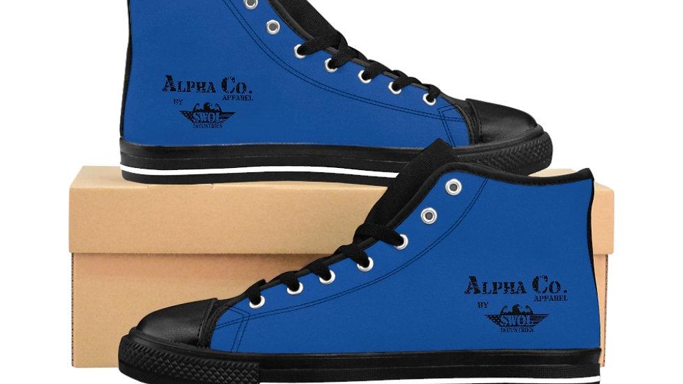 Men's High-Top Sneakers   Alpha Co. Apparel (Black & Blue)