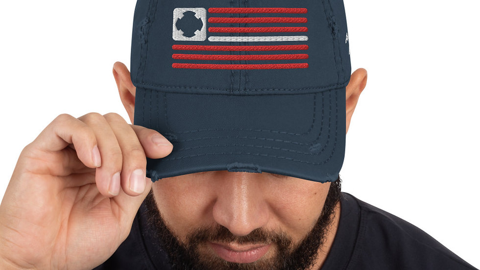 Distressed Hat | BOH Flag (Firefighter-RWB)