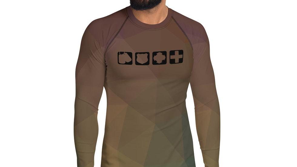 Men's Athletic Rash Guard Shirt   Badges of Honor   DesertGeo Camo