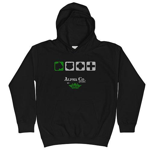Kids Hoodie  | Badges of Honor (Military, Black & Green)