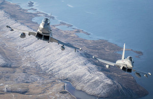 A pair of RAF Typhoons