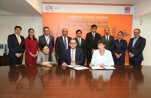 Joanna Reid, Head of DFID Pakistan, Dr Shamshad Akhtar, Chairperson Karandaaz and Ali Sarfraz, CEO Karandaaz at the agreement signing ceremony