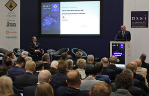 Defence Secretary at the DSEi conference. Crown Copyright