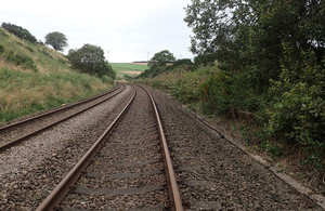 Part of the railway between Laurencekirk and Portlethen