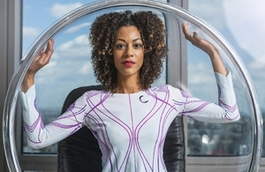 Model Sarah Lamptey wearing clothing made by tech fashion firm CuteCircuit, previous Innovate UK grant awardees