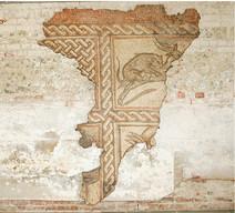 Panel of mosaic from a Roman villa at Dewlish, Dorset