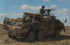 Soldiers from the Light Dragoons and 2 Royal Anglian training on Salisbury Plain