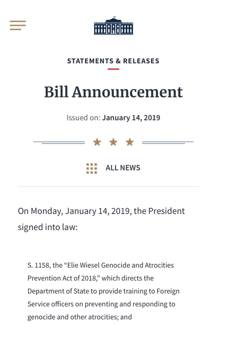 Elie Wiesel Genocide and Atrocities Prevention Act of 2018