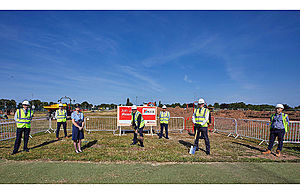 Kier and DIO cut the turf to mark the start of construction work for DIO's new headquarters. MOD Crown Copyright