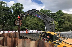 Work taking place to build a fish pass at Kirkstall weir as part of the Developing the Natural Aire project, which will see salmon returning to spawning grounds in the Yorkshire Dales