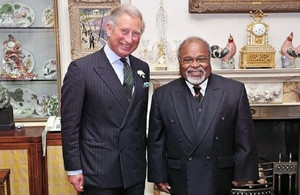HRH with Sir Michael Somare at Clarence House in 2008