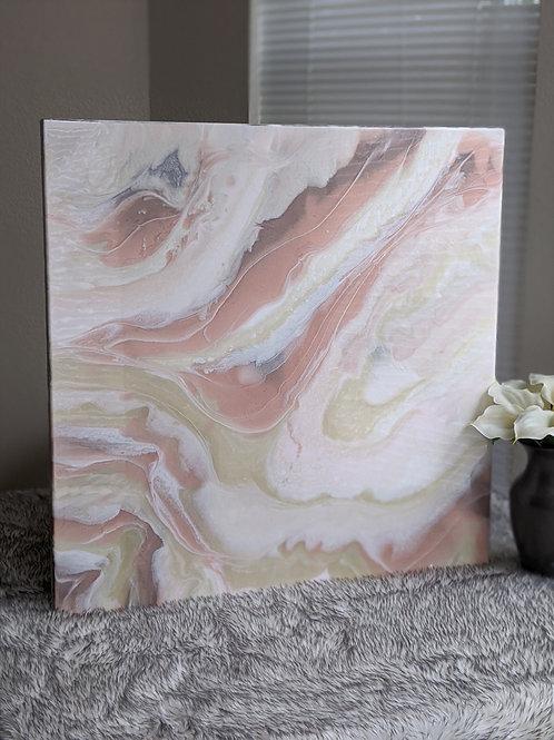 "Rose Gold 'Marble' Resin Art - 24"" x 24"""