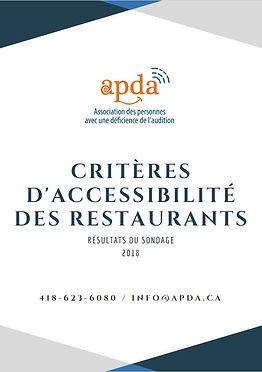 Critèresd'accessibilité des restaurants