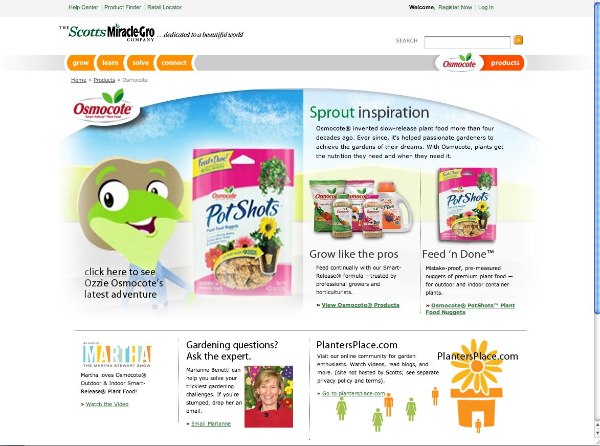 Osmocote on Scotts Miracle Gro Site