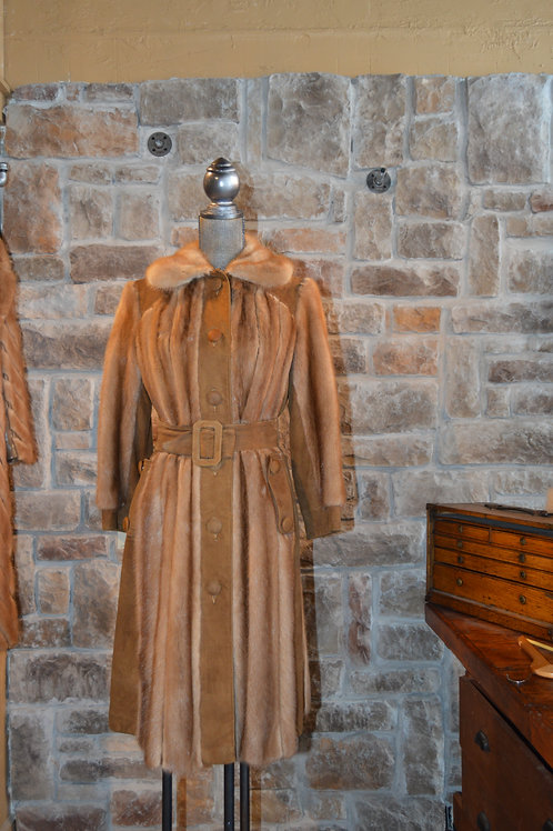 Medium Mink Autumn Hazel and Suede Long Coat