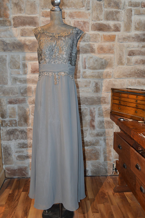 Large (14) Grey Lace Evening Gown