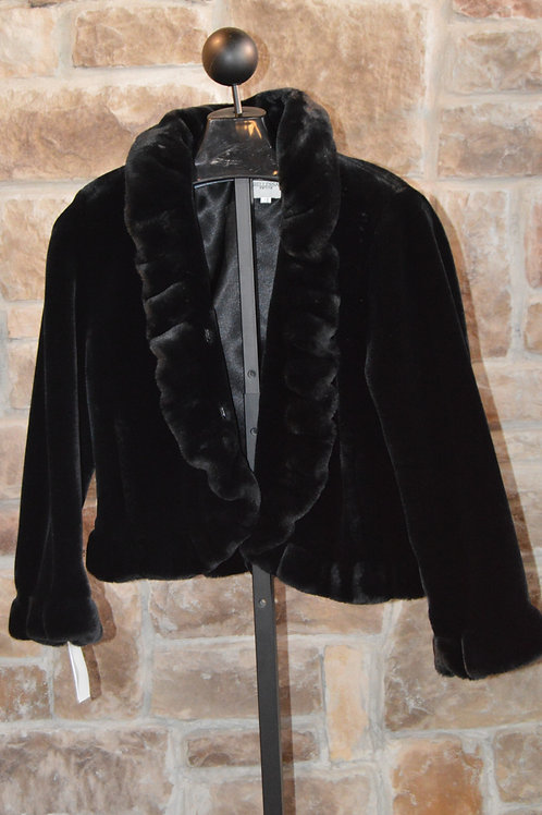 Black Faux Fur with Ruffle Detail