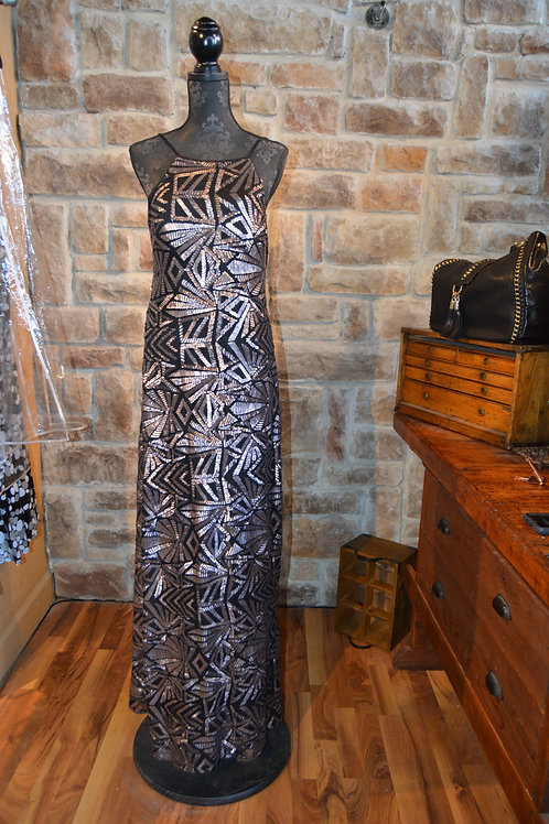 Large (14) Black Metallic Sequined Halter Gown
