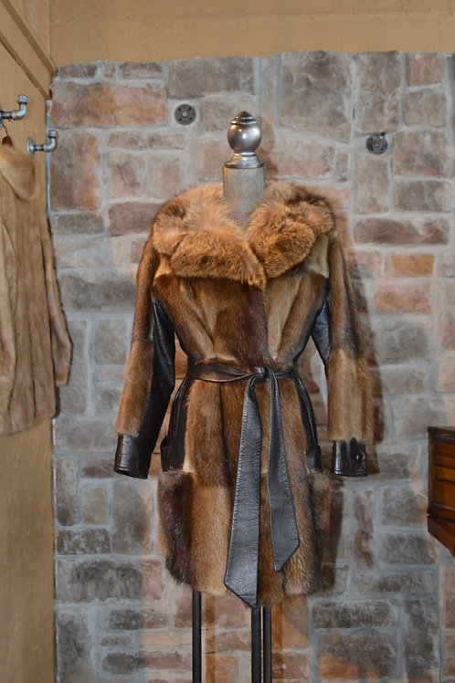 Medium Muskrat Coat with Leather Trim