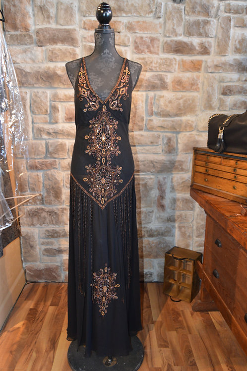 Large (12) Black Beaded Silk V-neck Fringe Gown By Sue Wong