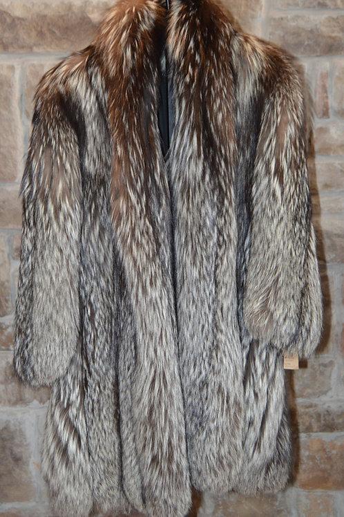 Knee Length Silver Fox Coat