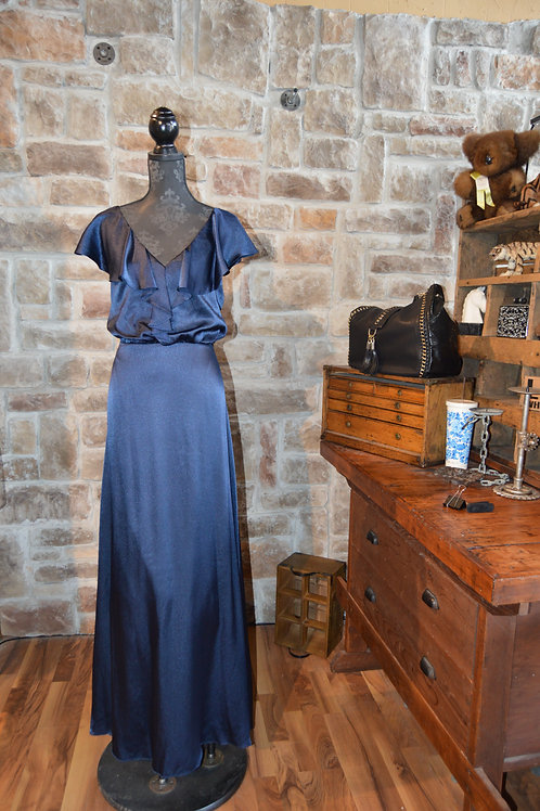 XL (16) Adrianna Papell Navy Satin Ruffled Gown