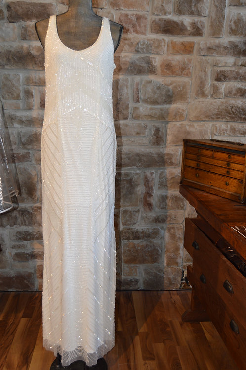 Large (14) Adrianna Papell White Beaded Gown