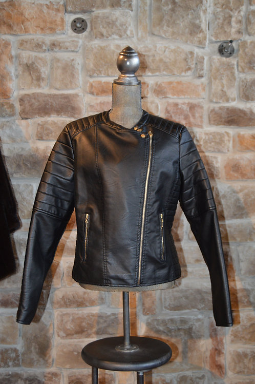 XL Black Faux Leather Jacket Asymmetrical by Olivia Mike