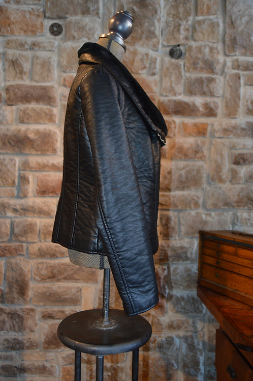 Large Black Fur Leather Jacket