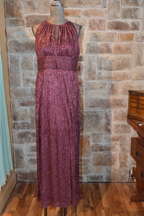 Large (14) Red Metallic Halter Dress