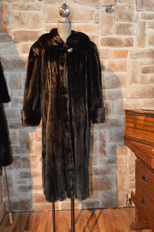 Large Black Glama Mink Full-length Coat