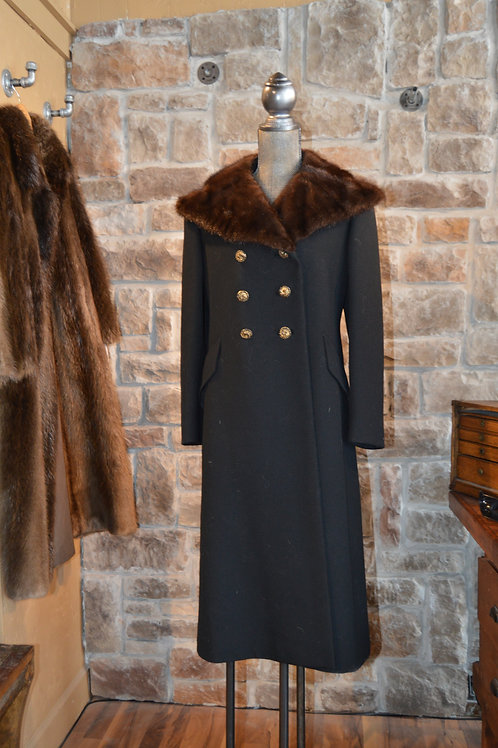 Medium Vintage Cloth Coat with Mink Collar