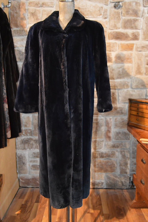 Large Navy Full-length Sheared Beaver Coat