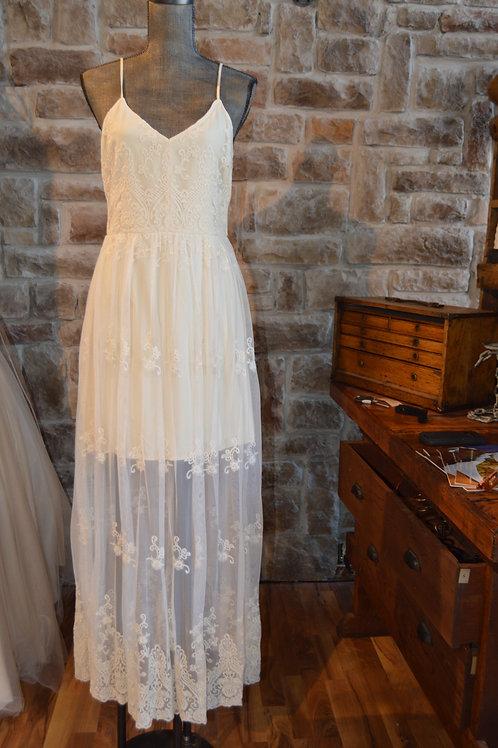 Large Ivory Lace Illusion Maxi Dress